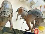 Pair Of Antique Leather And Paper Mache 14 Horse Toy Statue W/ Glass Eyes