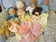 7 Lot Collection Of Antique Dolls + Vintage Plastic Granny Doll - Extra Clothes