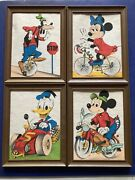 Vintage Lot Of Disney Mickey Minnie Mouse Goofy Donald Duck Color Ink Drawing