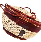 Cowrie Shell Ex. Large Hausa/burg.leather Basket- Africa- Vintage