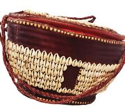Cowrie Shell Hausa Large Burg.leather Trim Basket- Africa- Vintage