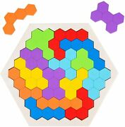 Wooden Hexagon Puzzles For Kids Adults, Wood City Brain Teasers Tetris Puzzle, L
