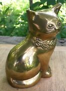 Mid Century Polished Brass Kitty Cat With Roses Around Neck Rosenthal Netter
