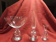Vintage 3 Piece Hand-blown Mcm Bubble Based Glass Crystal Vases- Artist Signed.