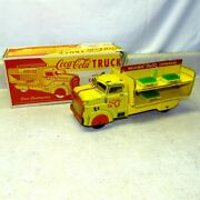 Vintage Marx Coca-cola Delivery Truck In Box Pressed Steel Toy Cases Bottle