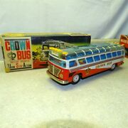 Vintage Alps Japan Tin Crown Bus In Box Battery Operated Works