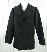 Vintage Us Navy Pembroke Kersey Wool Peacoat Size 34r Anchor Buttons