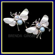 Vintage Retro Pair Butterfly Brooches Gold Diamonds Rubies Pearls Unisex 6999