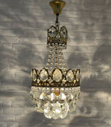 Antique Vintage Brass And Crystals French Small Chandelier Lighting Ceiling Lamp
