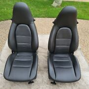Porsche 996 And 986 Boxster/s Oem Factory Genuine 4-way Black Leather Stock Seats