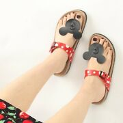 New Mickey Mouse Sandals For Women Girls Red Shoes Outdoor Slippers Flat Sandals