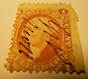 George Washington U.s. Itner.rev.telegraph Red One Cent Stamp Very Rare Signed