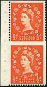 1955 Andfrac12d Sg 540a Variety And039imperf Three Sidesand039 Ex. Booklet Pane Of Six U/m In