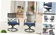 Outdoor Patio Dinning Swivel Chairs Rocker Set Of 2 Metal For 2 Chairs Blue