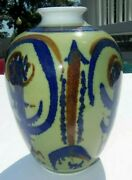 Antique Triangular Hand Crafted Floral Blown Glass Pottery Bud Vase