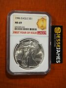 1986 1 American Silver Eagle Ngc Ms69 First Year Of Issue Label