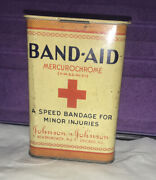 Vintage Band-aid Mercurochrome Tin 4 Bandages By Johnson And Johnson About 1930's