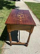 Beautiful Design Wood End Table Marquetry Inlay Carved Accent Table Night Stand
