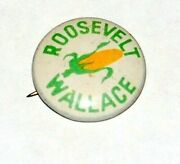 '40 Franklin D Roosevelt Fdr Henry Wallace Campaign Pin Pinback Button Political
