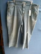 New Lane Bryant Women's Plus Size 26 Stretchy Mid-rise Cropped Jeans R5