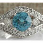 Real Solid 14k White Gold 4.16ct Round Cut Natural Blue Topaz And Diamond Ring
