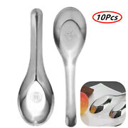 10pcs Chinese Soup Spoons Long Handle Scoops Stainless Steel Home Hotel Flatware