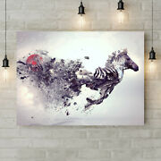 Abstract - Zebra Animal Wall Art Various Sizes Canvas Rolled Wall Art Print