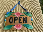 Carved Wood Store Business Hanging Sign Open Closed Colorful Flowers 12 X 8
