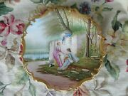 Wow Antique Artist Signed Lrandl Limoges Hp Lady Man Heavy Gold Huge Plate Charger