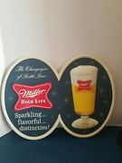 Vtg 1950s Miller High Life Beer Vacuform Plastic 3-d Sign Bow Tie Logo And Glass