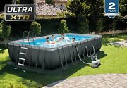 Intex 24ft X 12ft X 52in Ultra Xtr Frame Rectangular Pool Set With Sand Filter