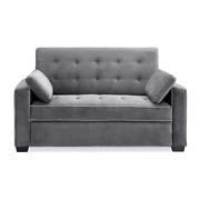 Augustus 38 In. Gray Linen 2-seater Queen Sleeper Convertible Sofa Bed With Squa