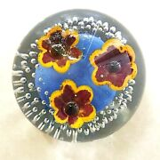 Wheaton Village Art Glass Floral Paperweight Signed 3 Flowers