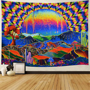 Trippy Tapestry Planet And Mountains Wall Tapestry Psychedelic Tapestry Mushroom