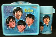 Beatles 1965 Lunch Box With Thermos Blue Aladdin Industries Really Nice Shape