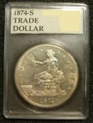 1874-s Trade Silver Dollar Coin High Grade Proof Like