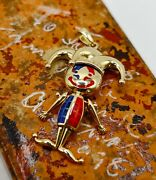 9ct Yellow Gold Movable Articulated Enamelled Jester Pendant/charm For Necklace