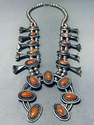 Womenand039s Vintage Navajo Domed Coral Sterling Silver Squash Blossom Necklace