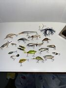Vintage Lot Of 20 Fishing Lures. Metal Plastic /rubber/steely/horsehair Wow