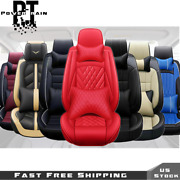 Car Seat Covers Deluxe Pu Leather Full Set W/ Pillow 14pc 5 Seats Universal Fit