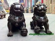 Collectable Door Fengshui Archaic Bronze Guardion Lion Dog Old Statues 16cm Pair