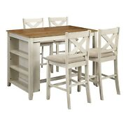 Dining Set 5 Piece Table 4 Chair Stool Kitchen Outdoor Metal Wood Antique White