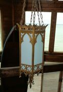 Vintage Church Cathedral Ornate Chandelier Hanging Light Fixture Cast Brass