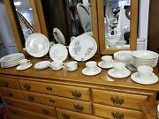 Vintage Usa Mccoy 22kt Ivory And Gold China Set Etched Roses 41 Piece Dinnerware