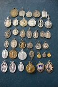 Lot Of Vintage Religious Catholic Various Medals 37 Count 1 Is Sterling Theda
