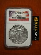 2012 W Burnished Silver Eagle Ngc Ms70 First Releases Usa Flag Label