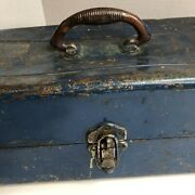 Vintage Blue Metal Union Steel Chest Corp Leroy Nytiered Tackle Box Steel Handle