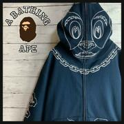 A Bathing Ape Cow Full Embroidery Full Zip Hoodie 100 Cotton Navy White M Used