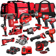 Milwaukee 18v Cordless 13 Piece Tool Kit With 4 X 5.0ah Batteries Charger And Bag