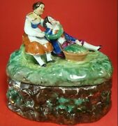 Antique Conta Boehme Fairing Trinket Box Man And Woman 5w Hand Painted 1800's